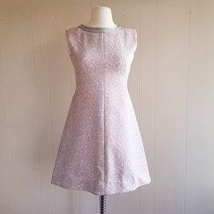 1960s Unlabeled Pale Pink & Shiny Silver Shift Dre